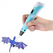 3D Ручка Pen 2 с LCD дисплеем плюс 4 метра пластика Голубая