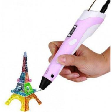 3D Ручка Pen 2 с LCD дисплеем плюс 4 метра пластика Розовая