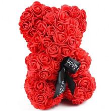 Мишка из роз UKC в подарочной упаковке 25 см Красный (02-А)