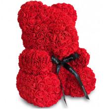 Мишка из роз UKC в подарочной упаковке 40 см Красный (01-А)